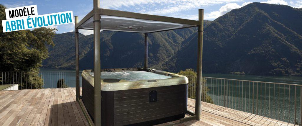 Abri de spa automatisé Évolution, au toit plat et différente coloris disponibles.