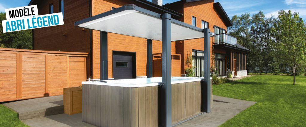 Abri de spa de nage automatisé Légend, au toit plat et différentes tailles et couleurs disponibles.