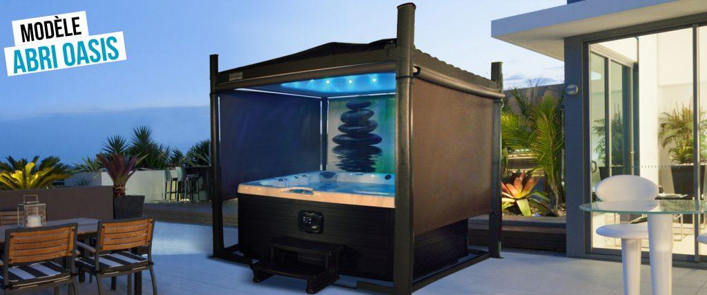 Abri de spa automatisé Oasis,  son toit est en pente et différentes coloris sont disponibles
